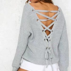 Kirsten laced back chain knit slouchy sweater
